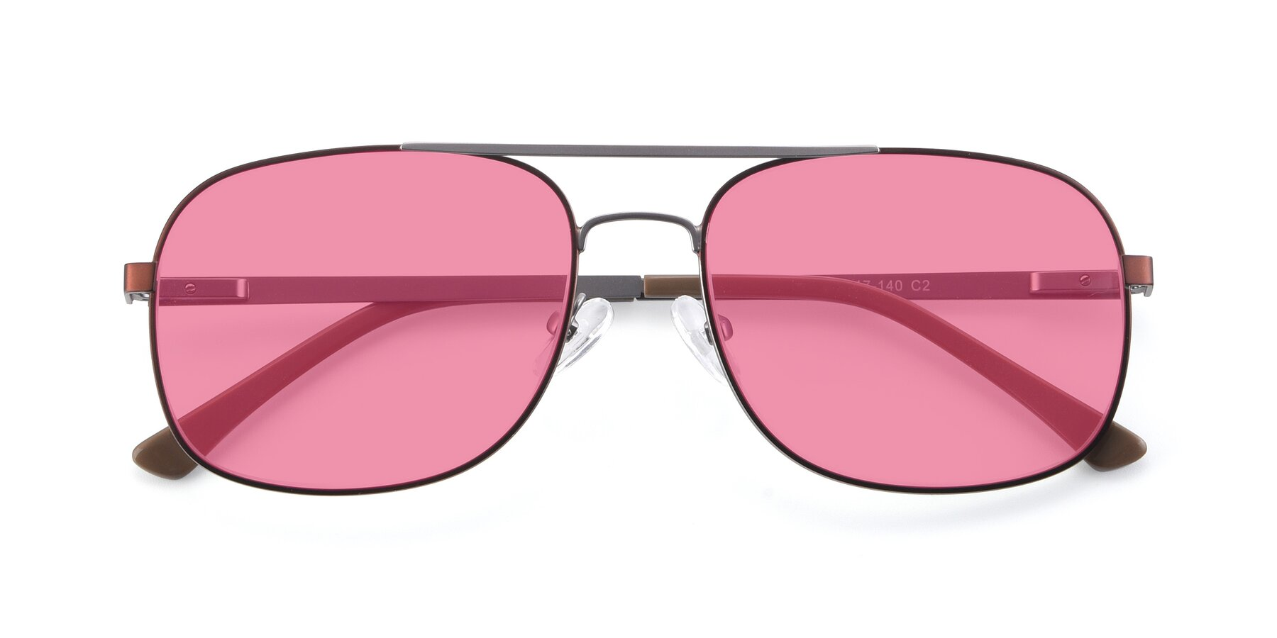 Folded Front of 9487 in Brown-Silver with Pink Tinted Lenses