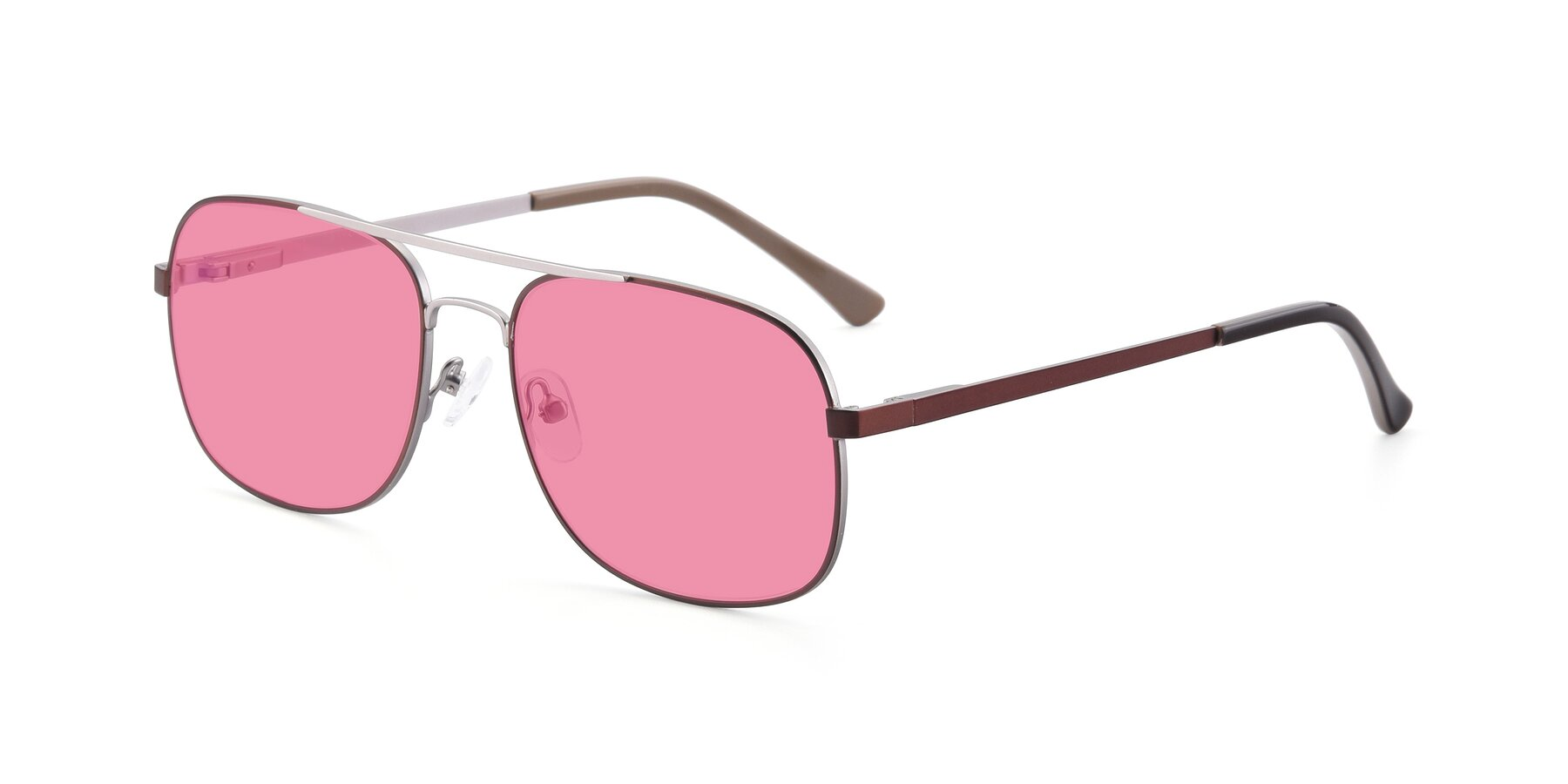Angle of 9487 in Brown-Silver with Pink Tinted Lenses