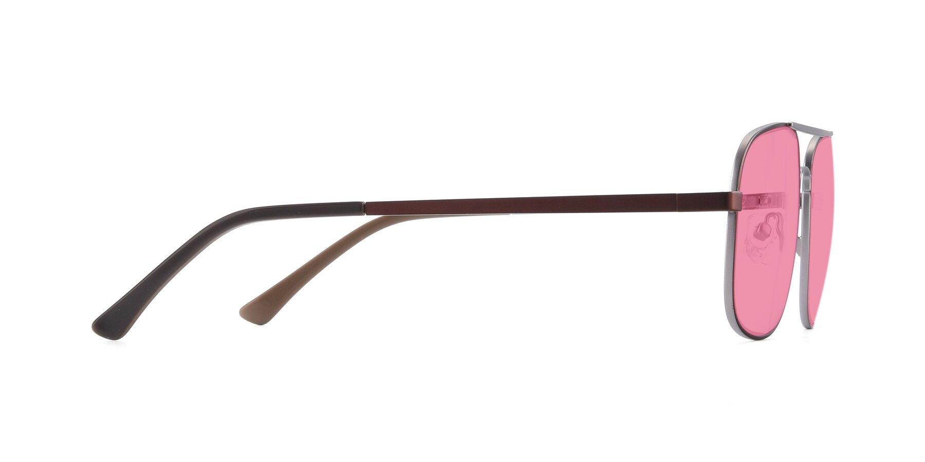 Side of 9487 in Brown-Silver with Pink Tinted Lenses