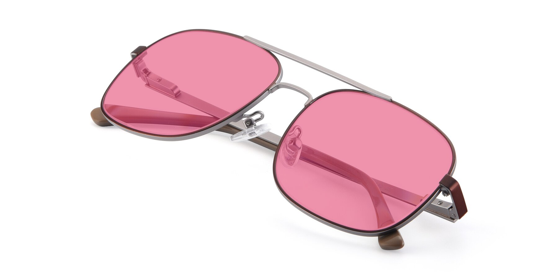 View of 9487 in Brown-Silver with Pink Tinted Lenses