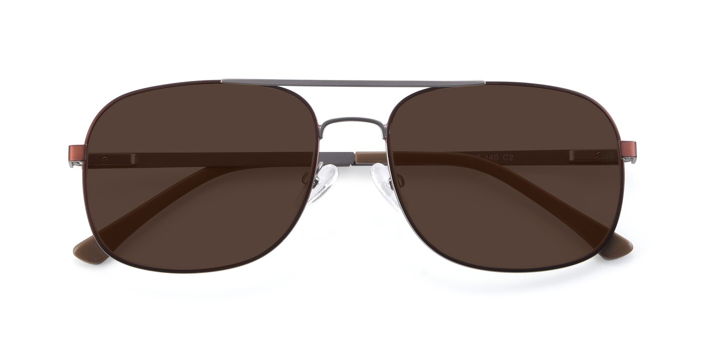 9487 - Brown / Silver Tinted Sunglasses