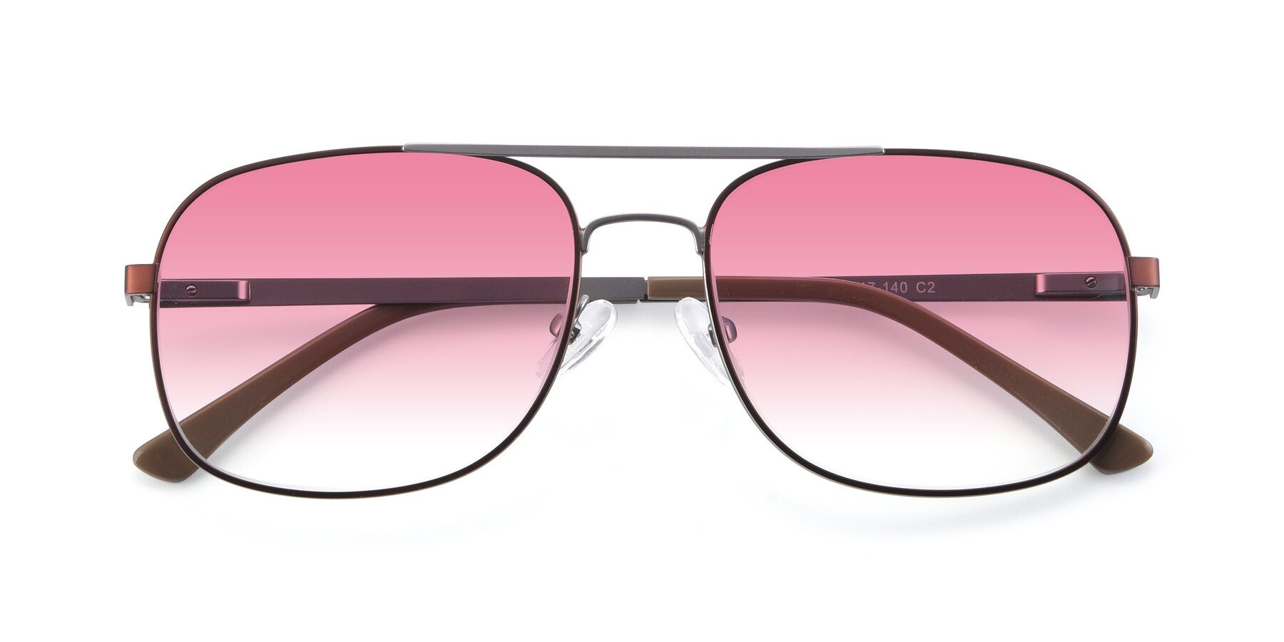 Folded Front of 9487 in Brown-Silver with Pink Gradient Lenses