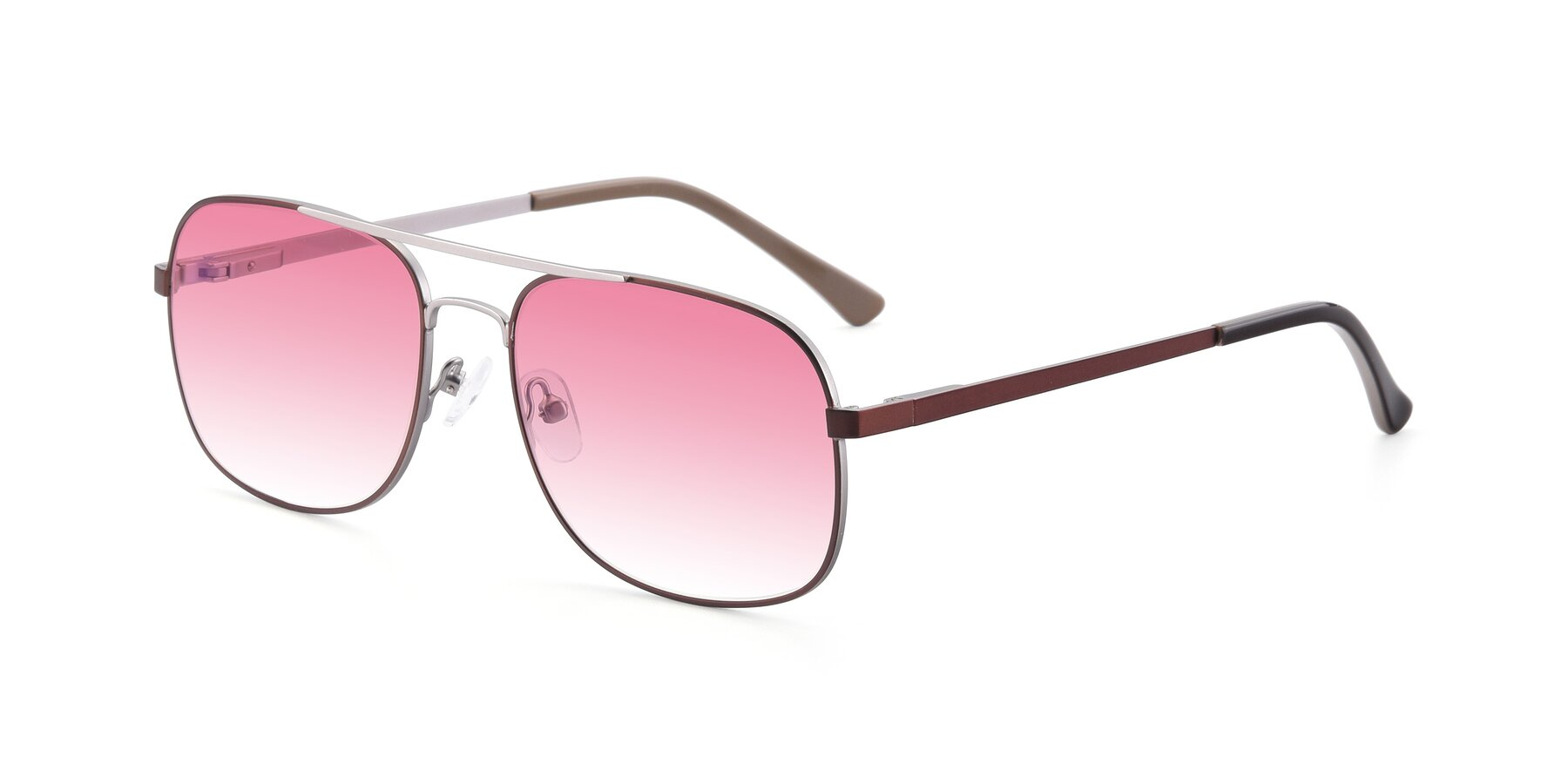 Angle of 9487 in Brown-Silver with Pink Gradient Lenses