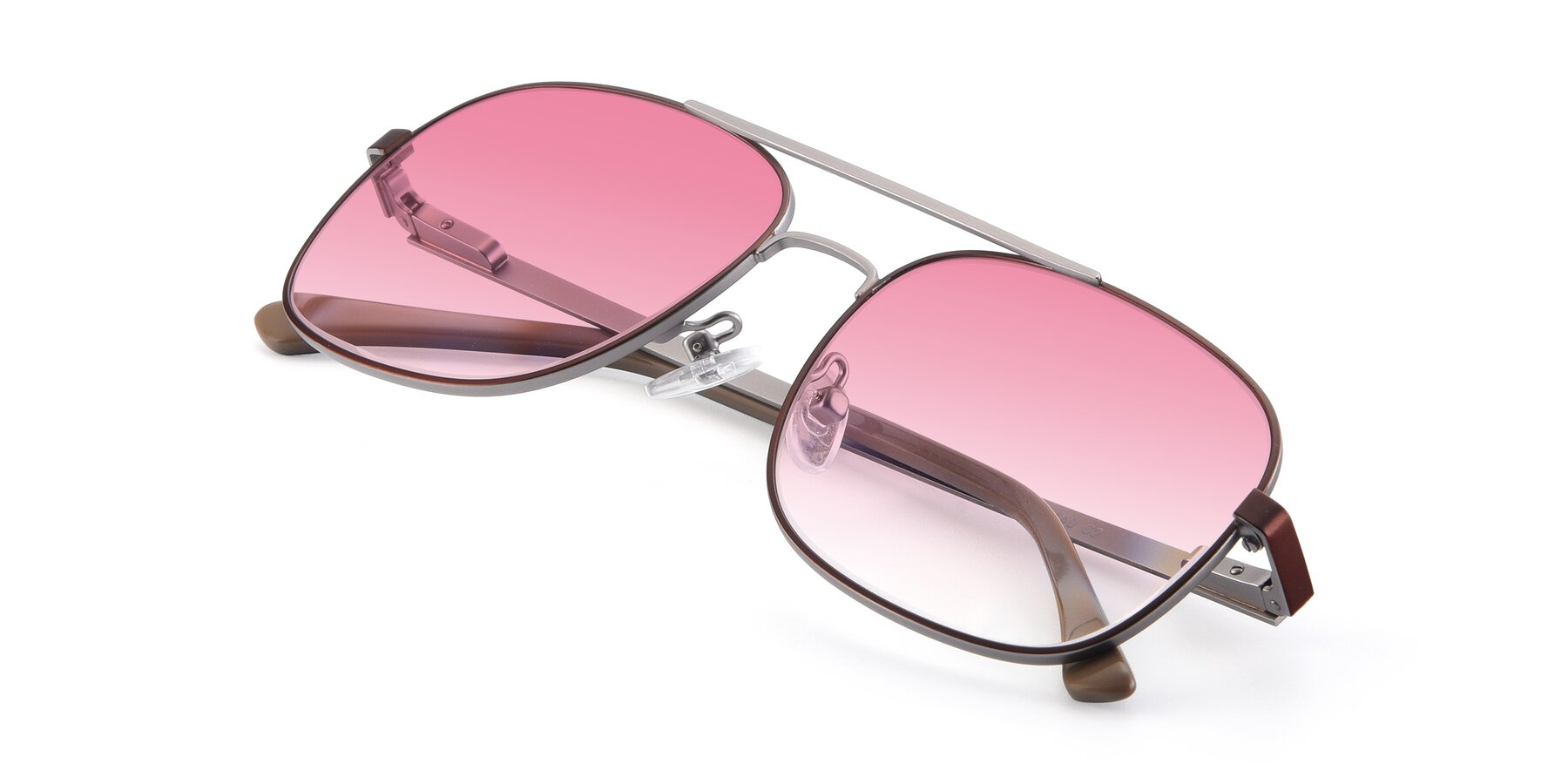View of 9487 in Brown-Silver with Pink Gradient Lenses