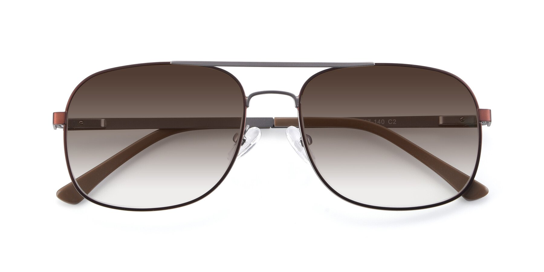 Folded Front of 9487 in Brown-Silver with Brown Gradient Lenses