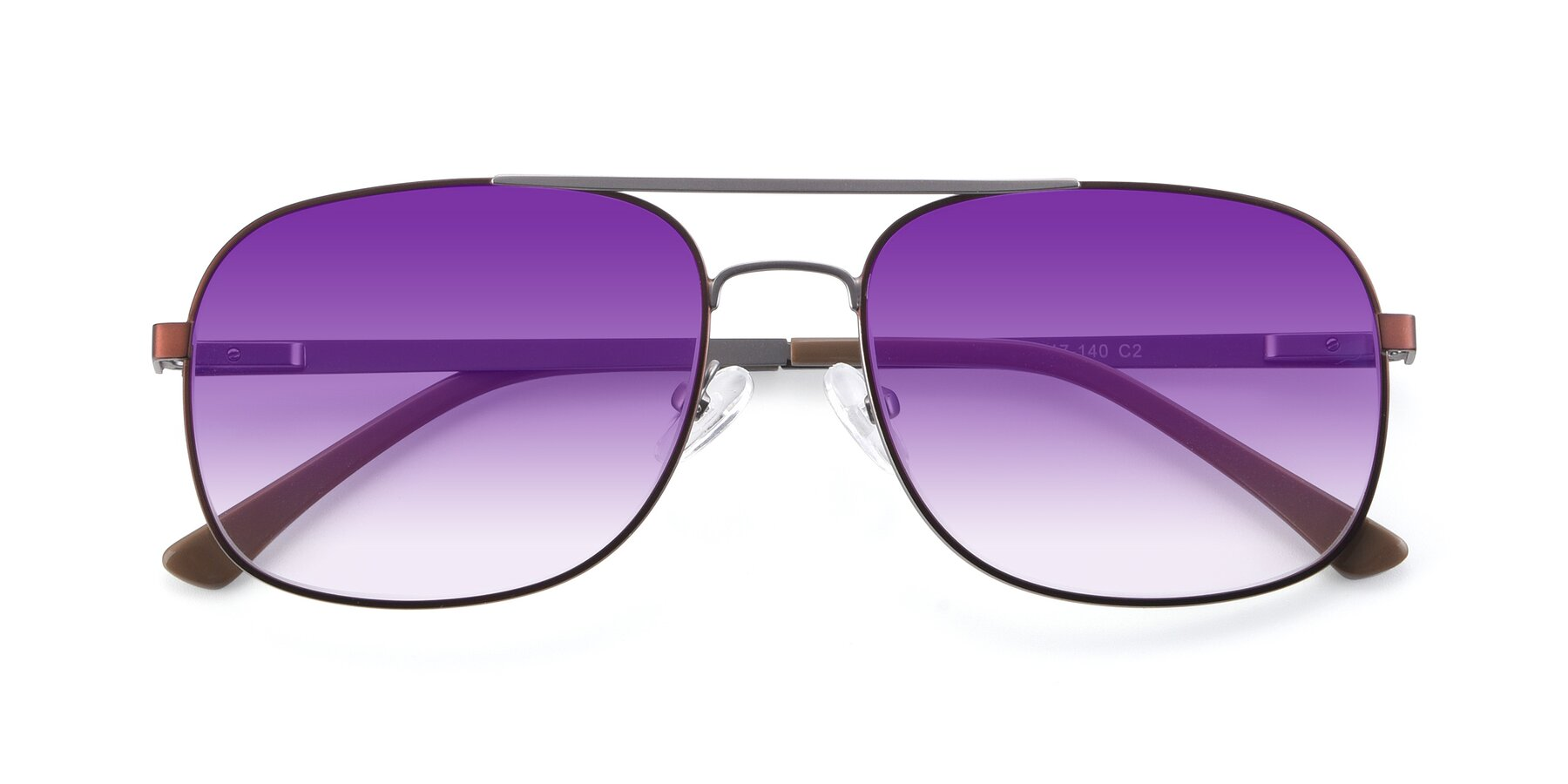 Folded Front of 9487 in Brown-Silver with Purple Gradient Lenses