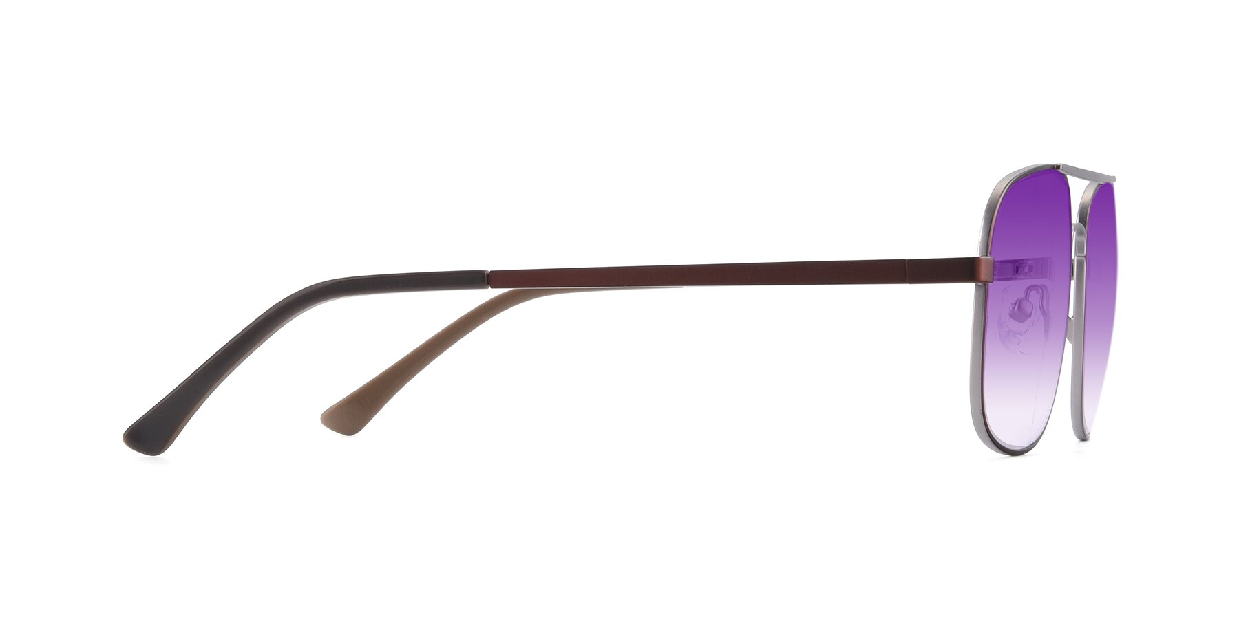 Side of 9487 in Brown-Silver with Purple Gradient Lenses