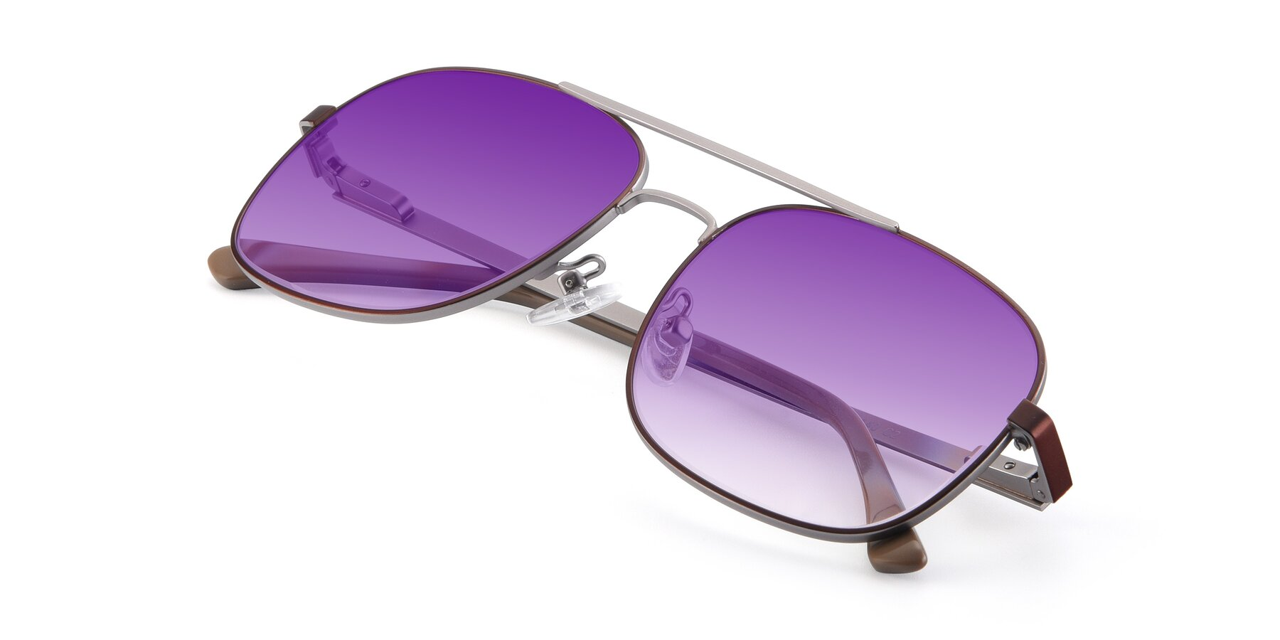 View of 9487 in Brown-Silver with Purple Gradient Lenses