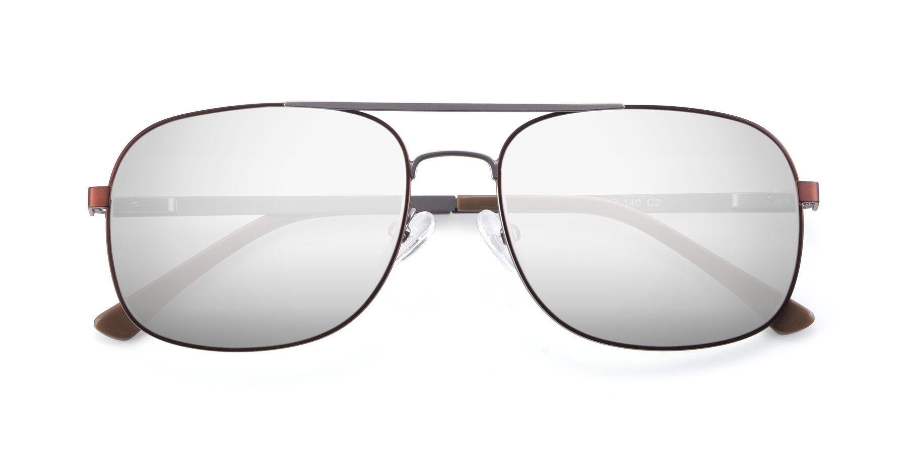 Folded Front of 9487 in Brown-Silver with Silver Mirrored Lenses