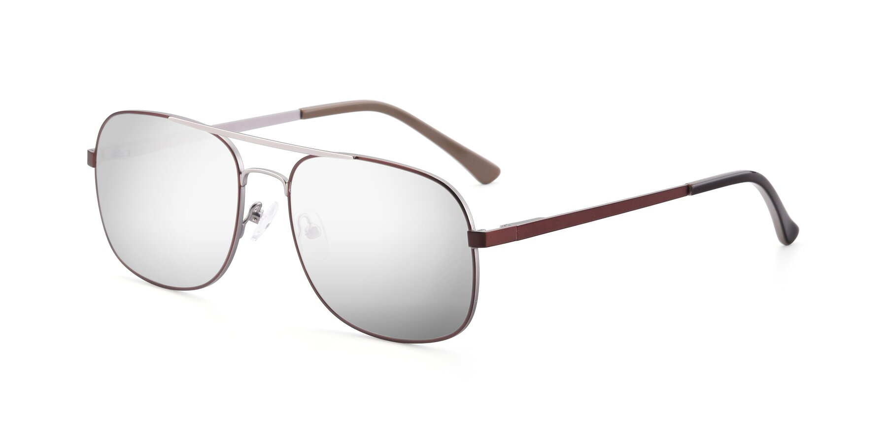 Angle of 9487 in Brown-Silver with Silver Mirrored Lenses