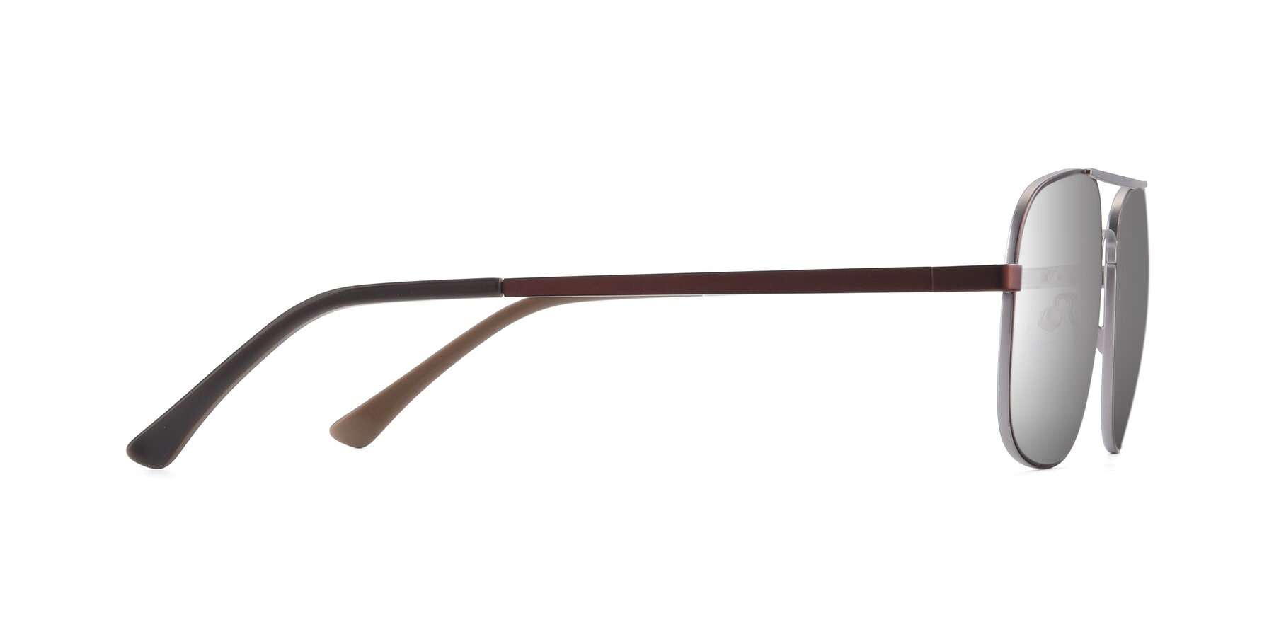 Side of 9487 in Brown-Silver with Silver Mirrored Lenses