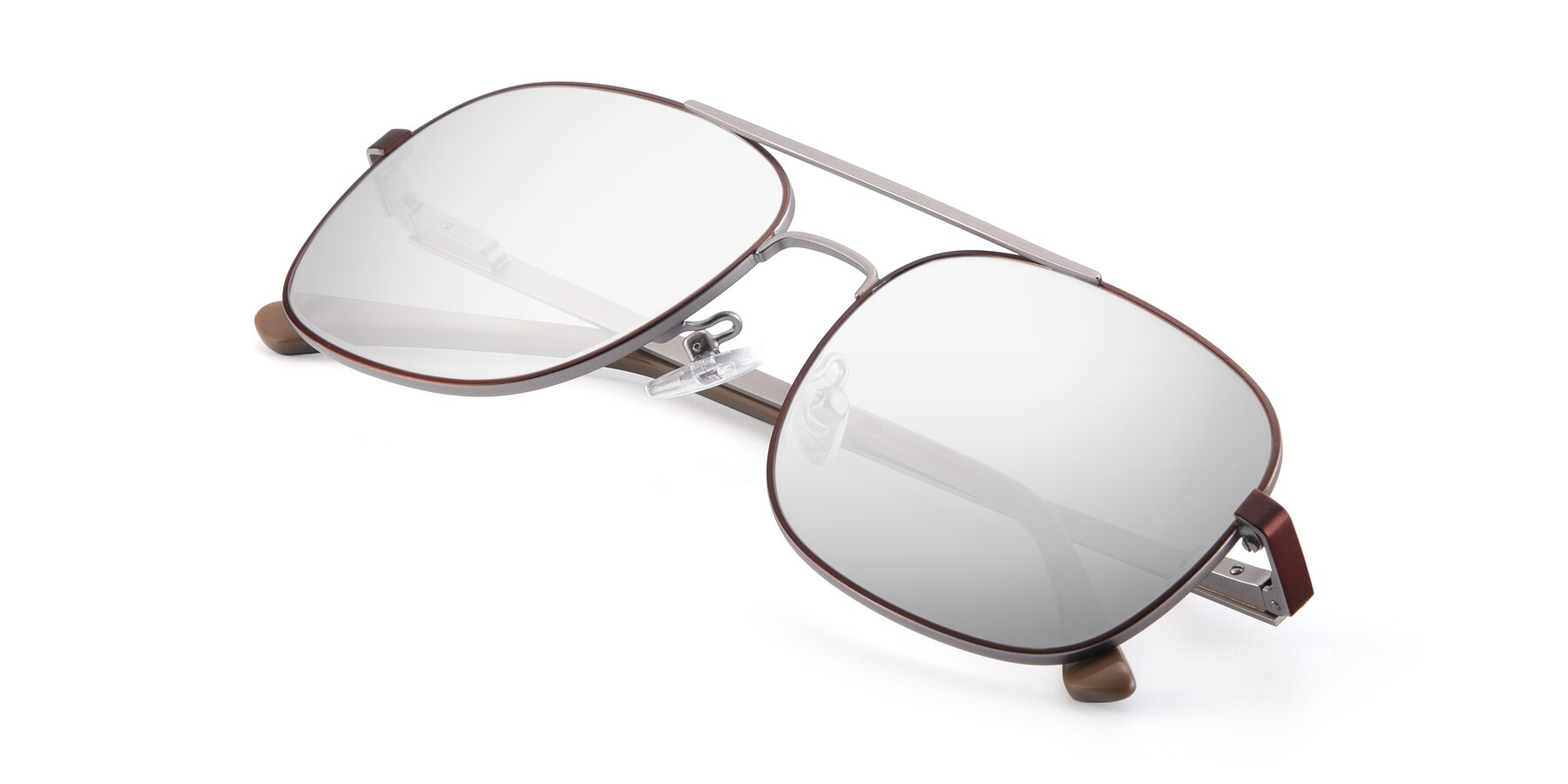 View of 9487 in Brown-Silver with Silver Mirrored Lenses