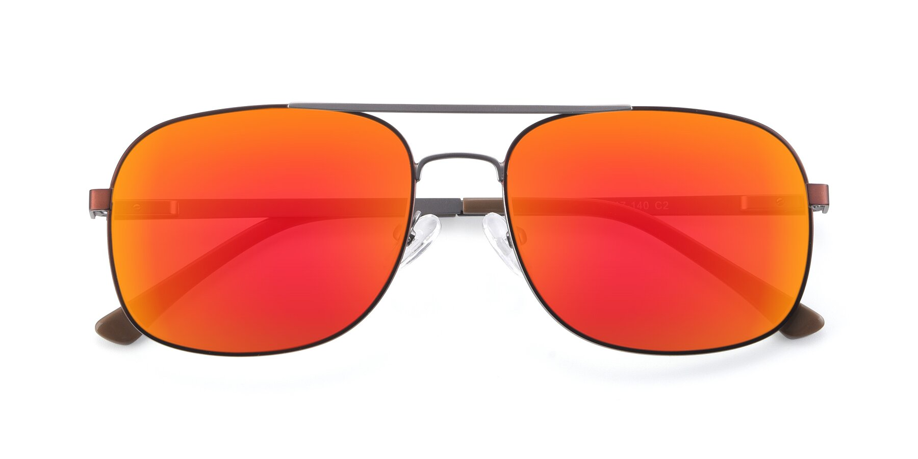 Folded Front of 9487 in Brown-Silver with Red Gold Mirrored Lenses