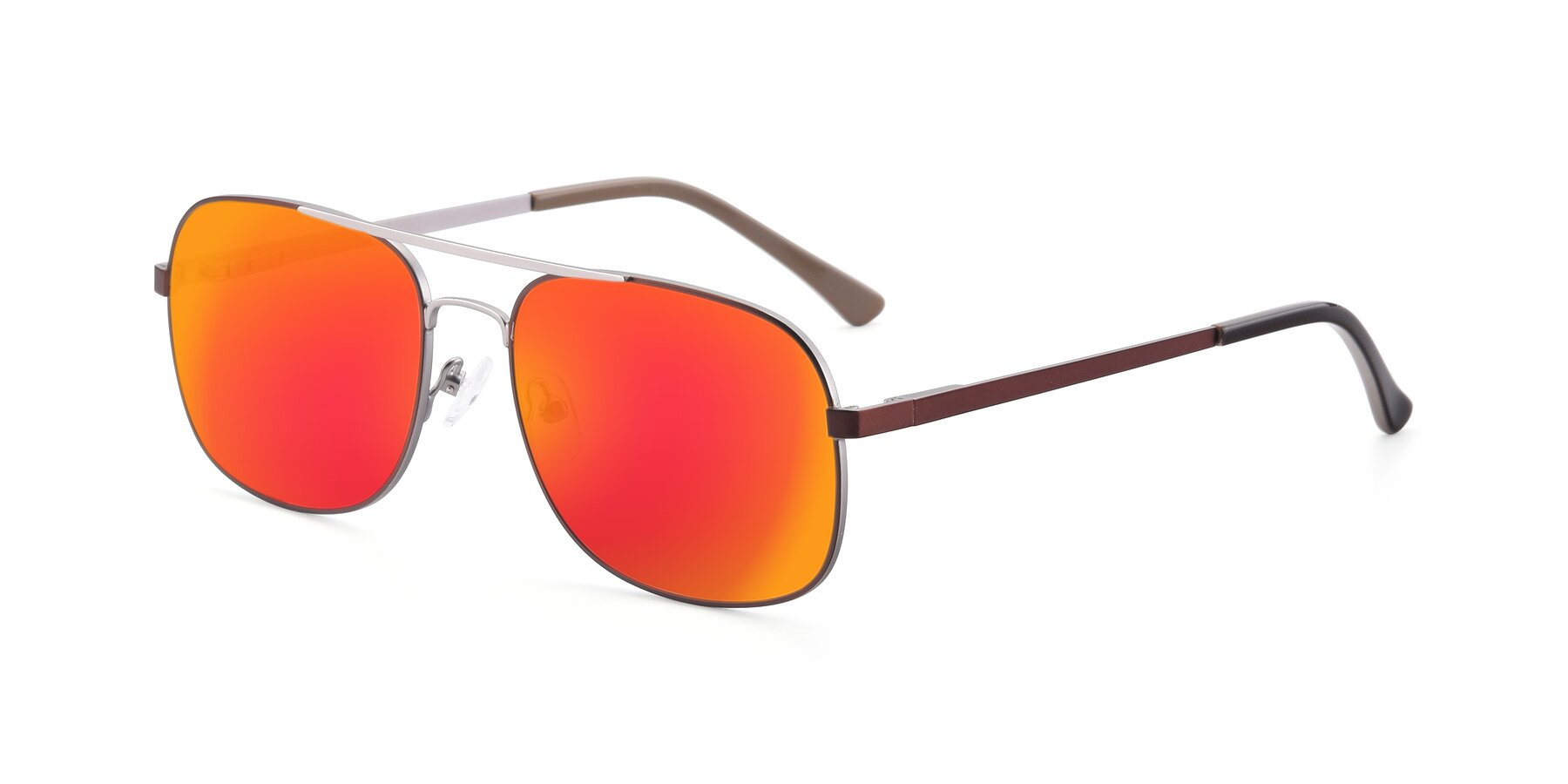 Angle of 9487 in Brown-Silver with Red Gold Mirrored Lenses
