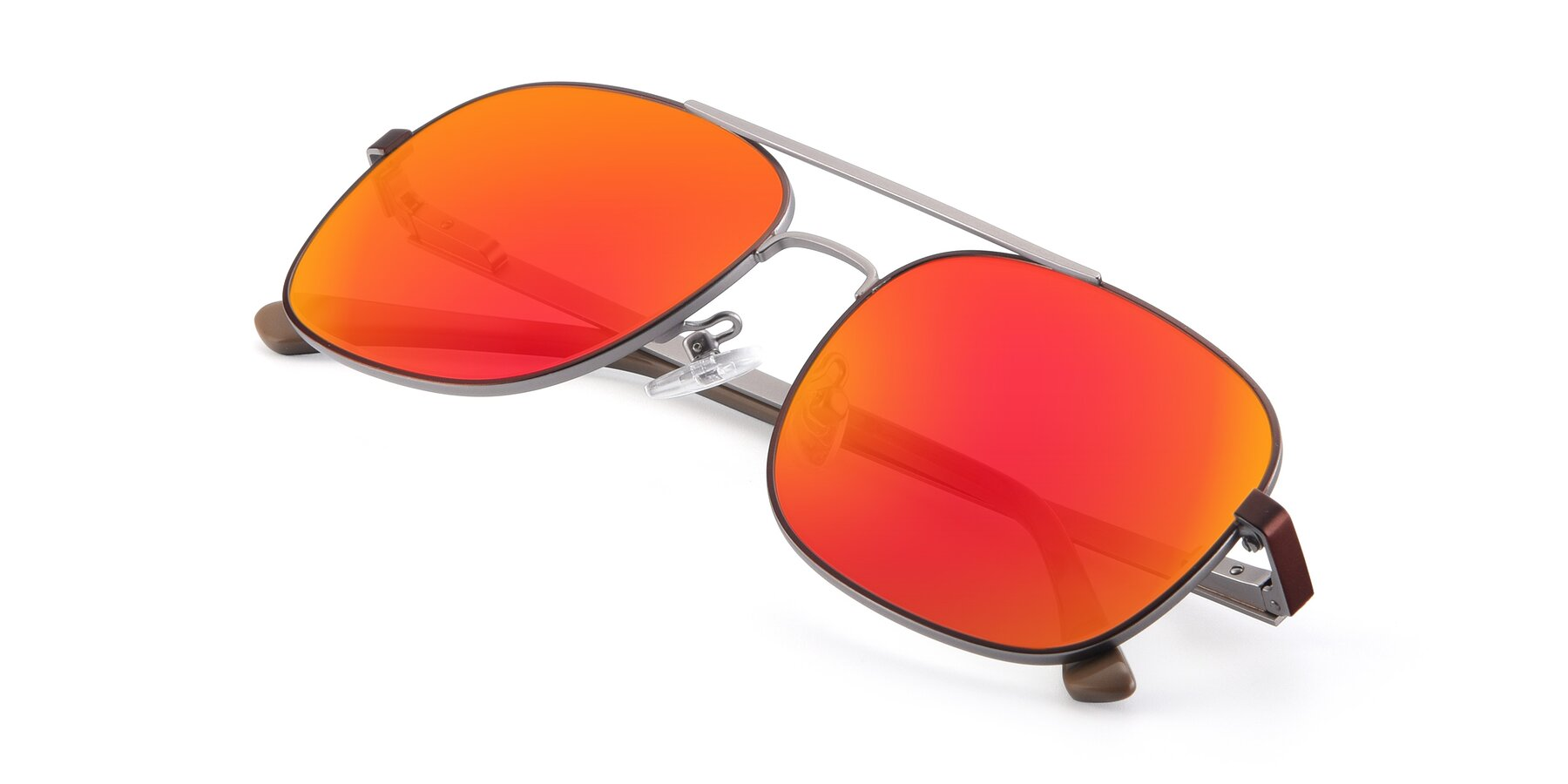 View of 9487 in Brown-Silver with Red Gold Mirrored Lenses