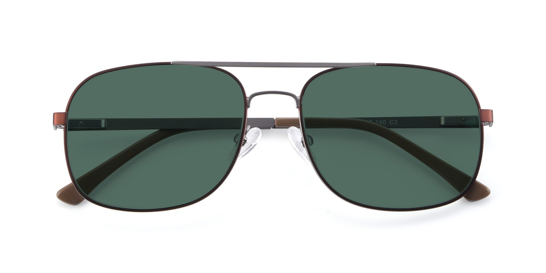 Folded Front of 9487 in Brown-Silver with Green Polarized Lenses