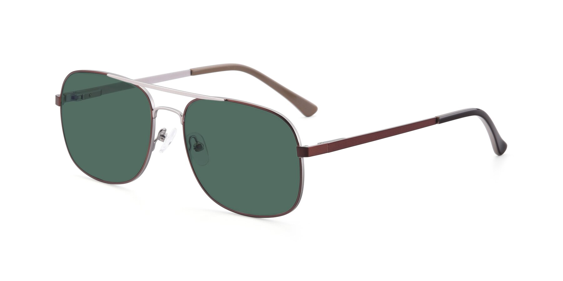 Angle of 9487 in Brown-Silver with Green Polarized Lenses