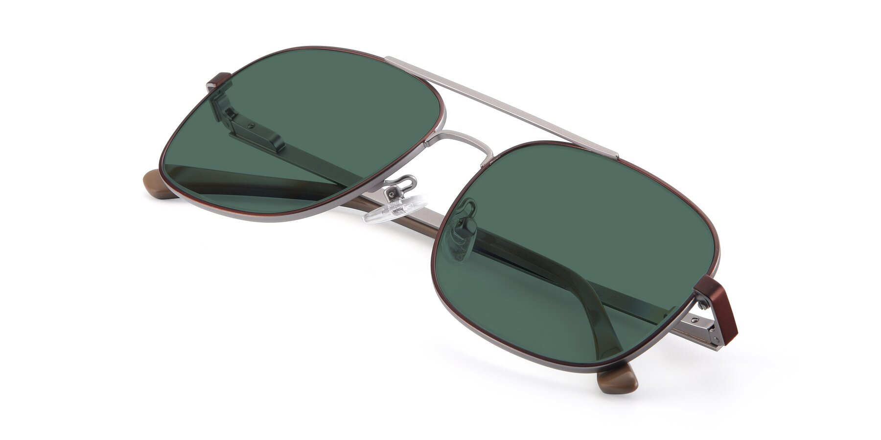 View of 9487 in Brown-Silver with Green Polarized Lenses