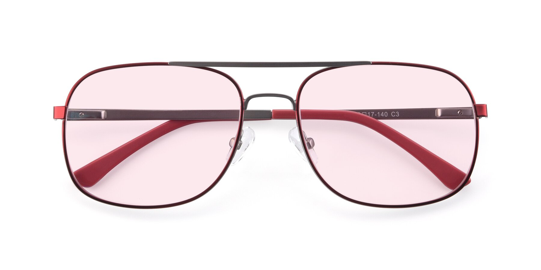 Folded Front of 9487 in Wine-Silver with Light Pink Tinted Lenses
