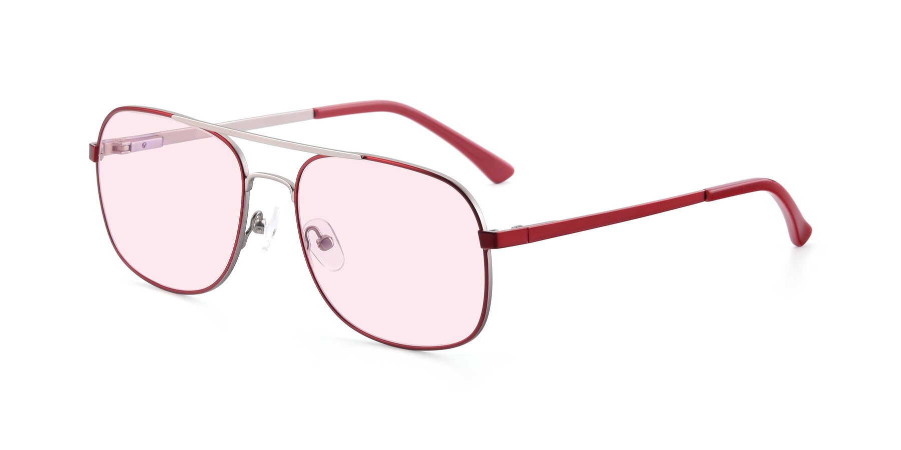 Angle of 9487 in Wine-Silver with Light Pink Tinted Lenses