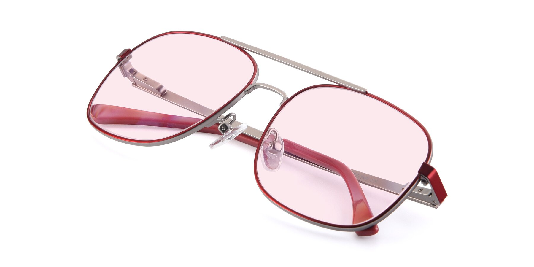 View of 9487 in Wine-Silver with Light Pink Tinted Lenses