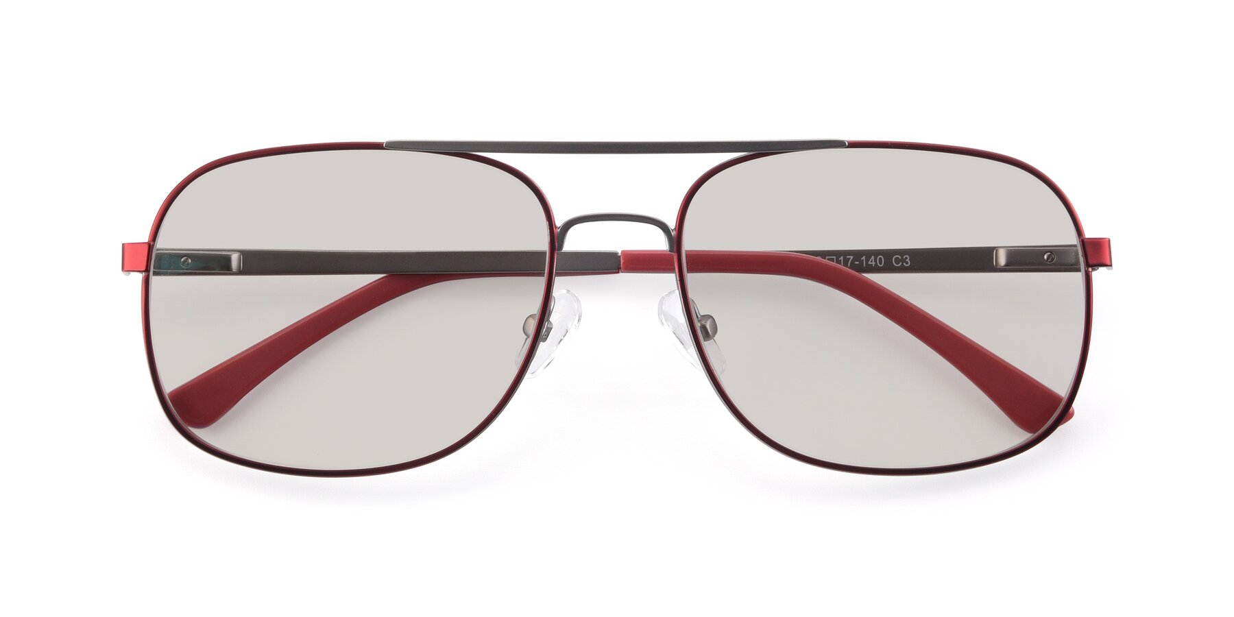 Folded Front of 9487 in Wine-Silver with Light Brown Tinted Lenses