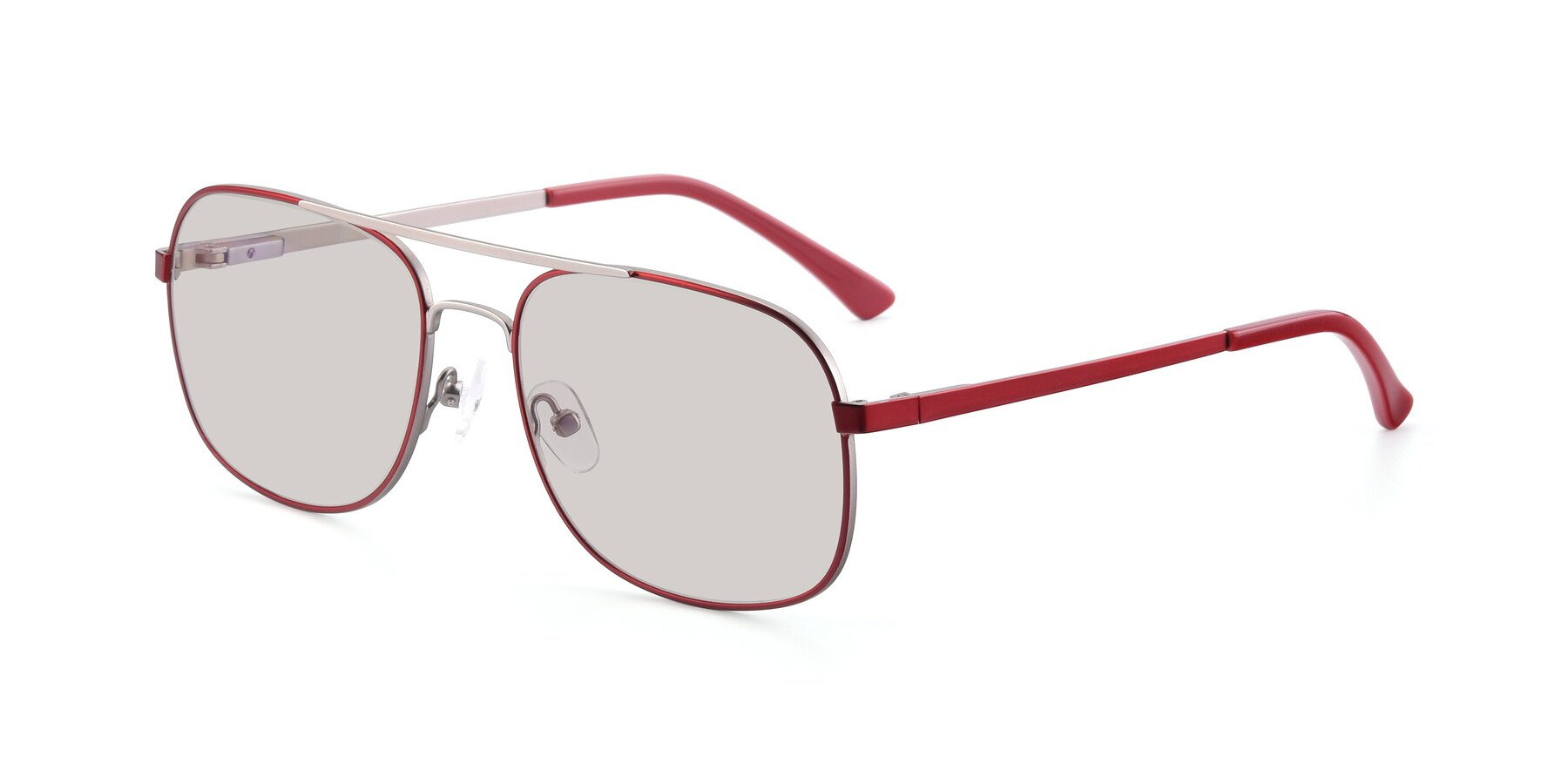 Angle of 9487 in Wine-Silver with Light Brown Tinted Lenses
