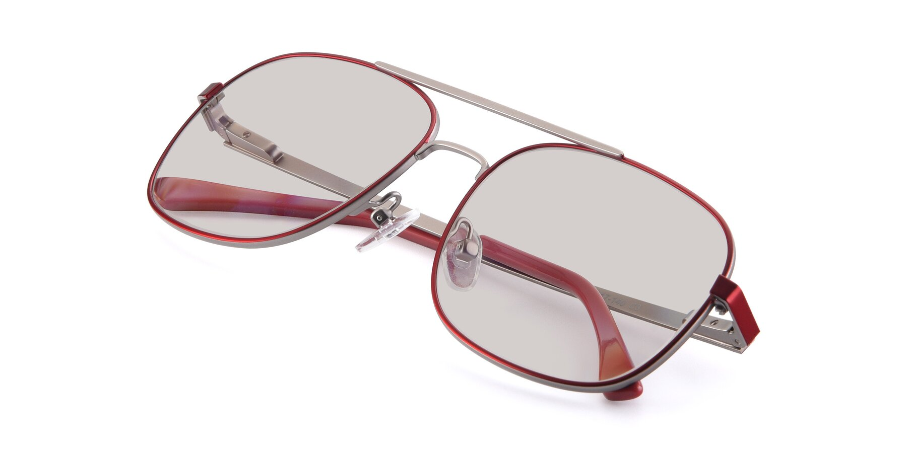 View of 9487 in Wine-Silver with Light Brown Tinted Lenses