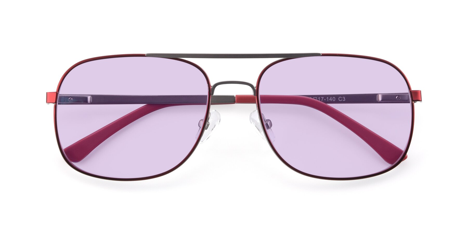 Folded Front of 9487 in Wine-Silver with Light Purple Tinted Lenses
