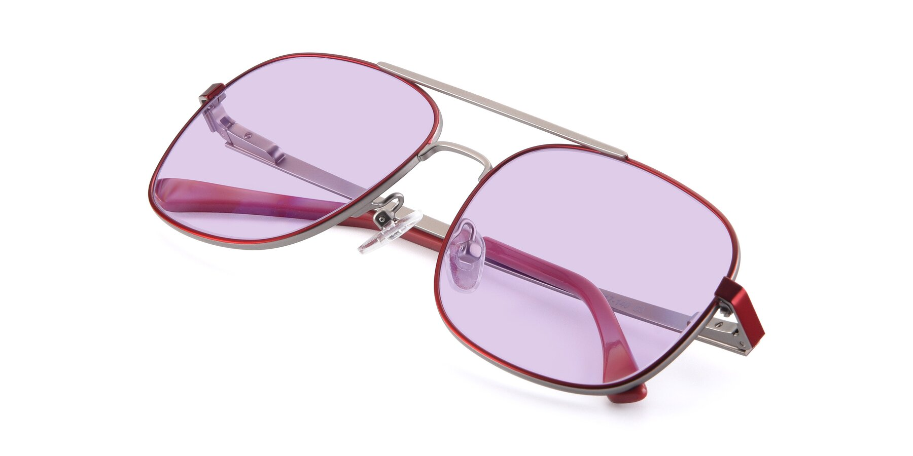View of 9487 in Wine-Silver with Light Purple Tinted Lenses