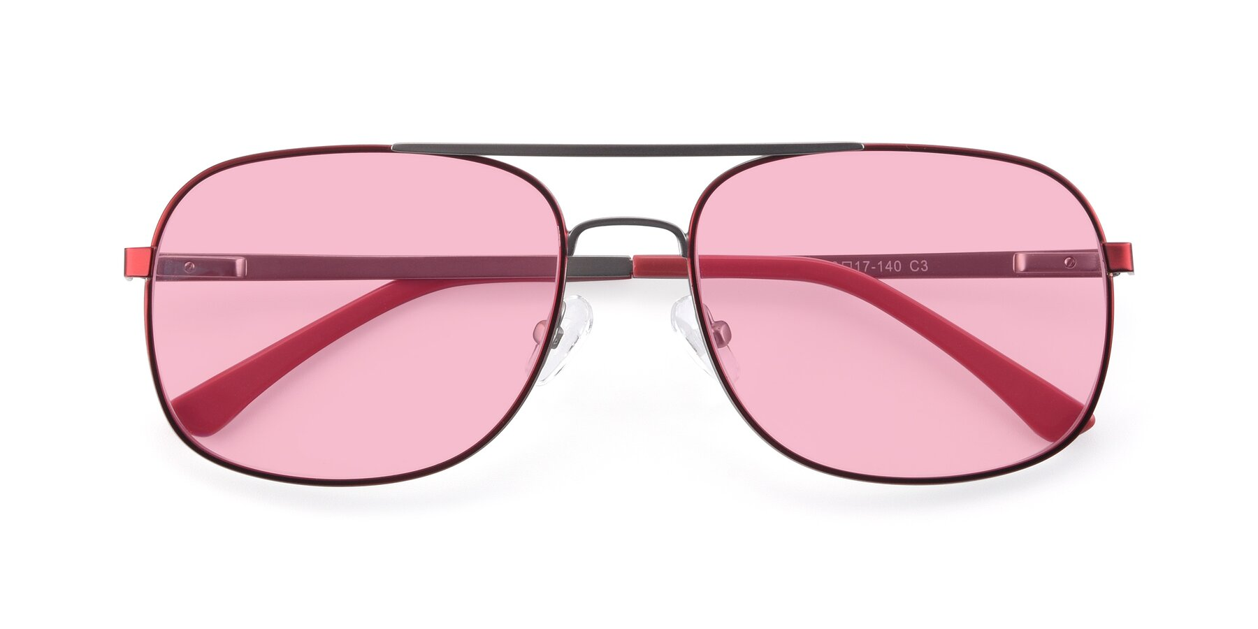 Folded Front of 9487 in Wine-Silver with Medium Pink Tinted Lenses