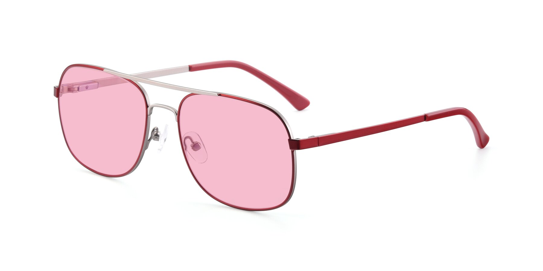 Angle of 9487 in Wine-Silver with Medium Pink Tinted Lenses