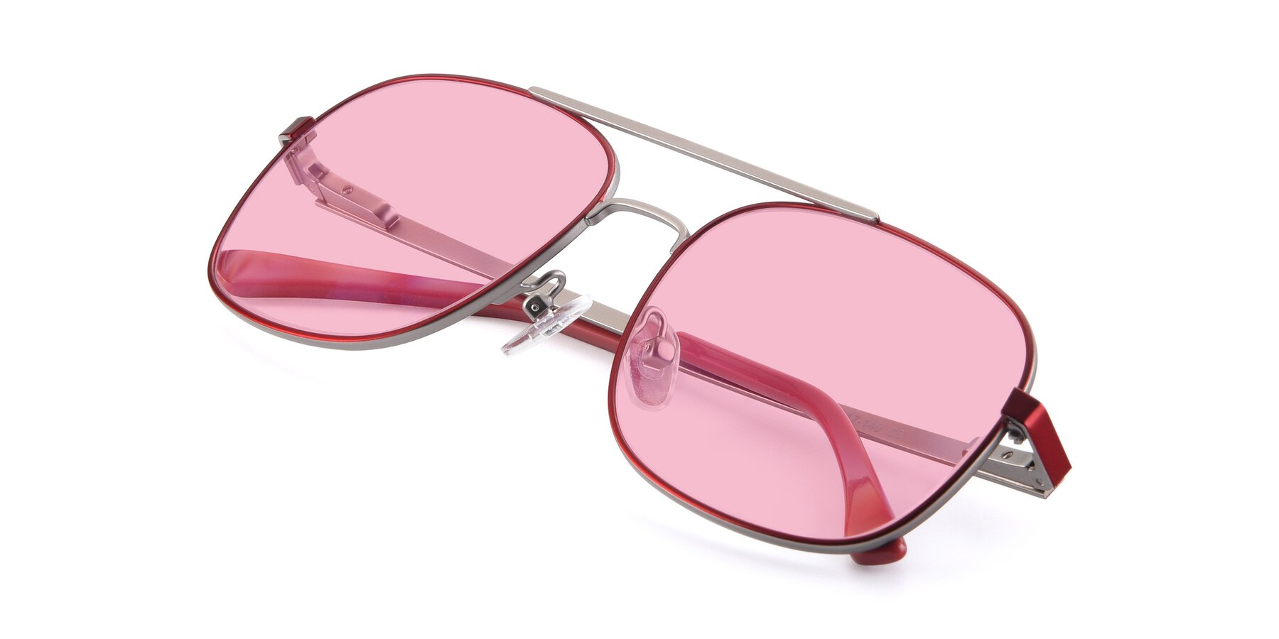 View of 9487 in Wine-Silver with Medium Pink Tinted Lenses