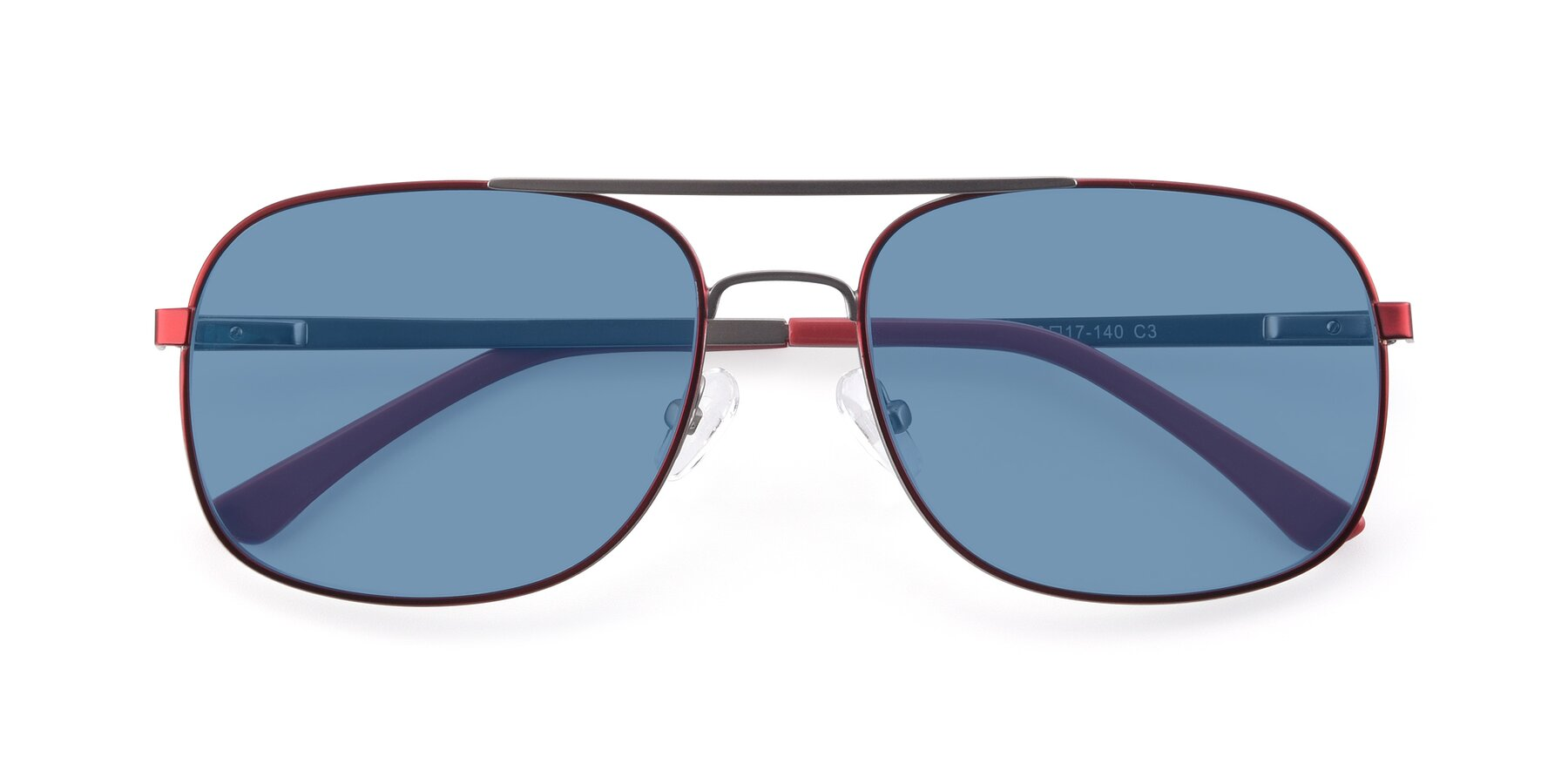 Folded Front of 9487 in Wine-Silver with Medium Blue Tinted Lenses