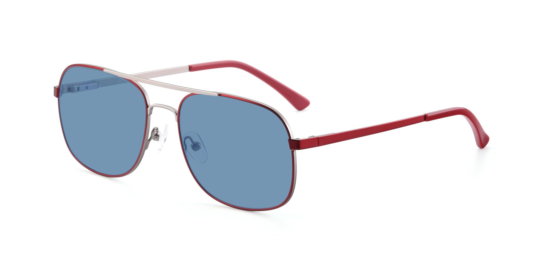 Angle of 9487 in Wine-Silver with Medium Blue Tinted Lenses