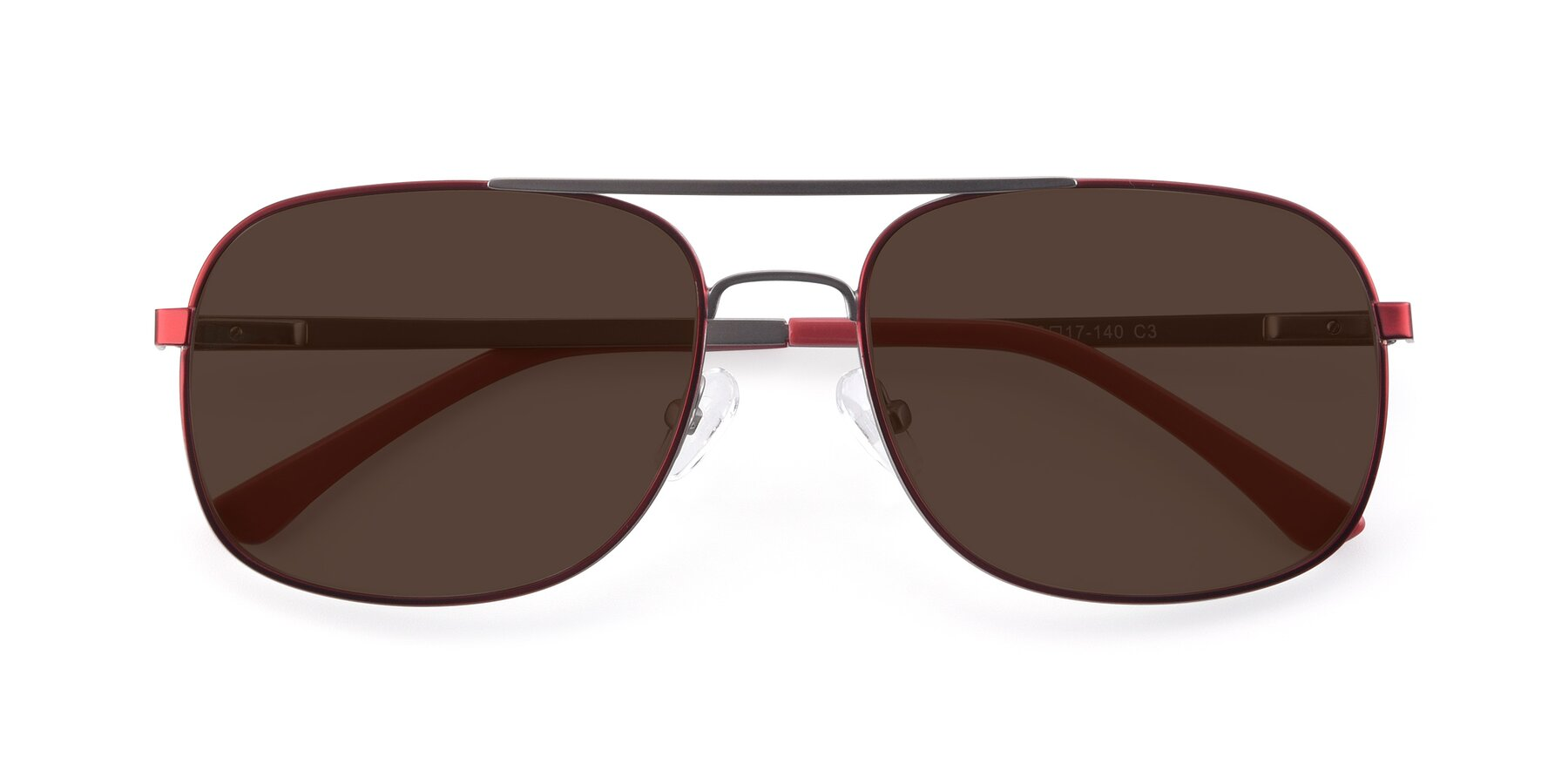 Folded Front of 9487 in Wine-Silver with Brown Tinted Lenses