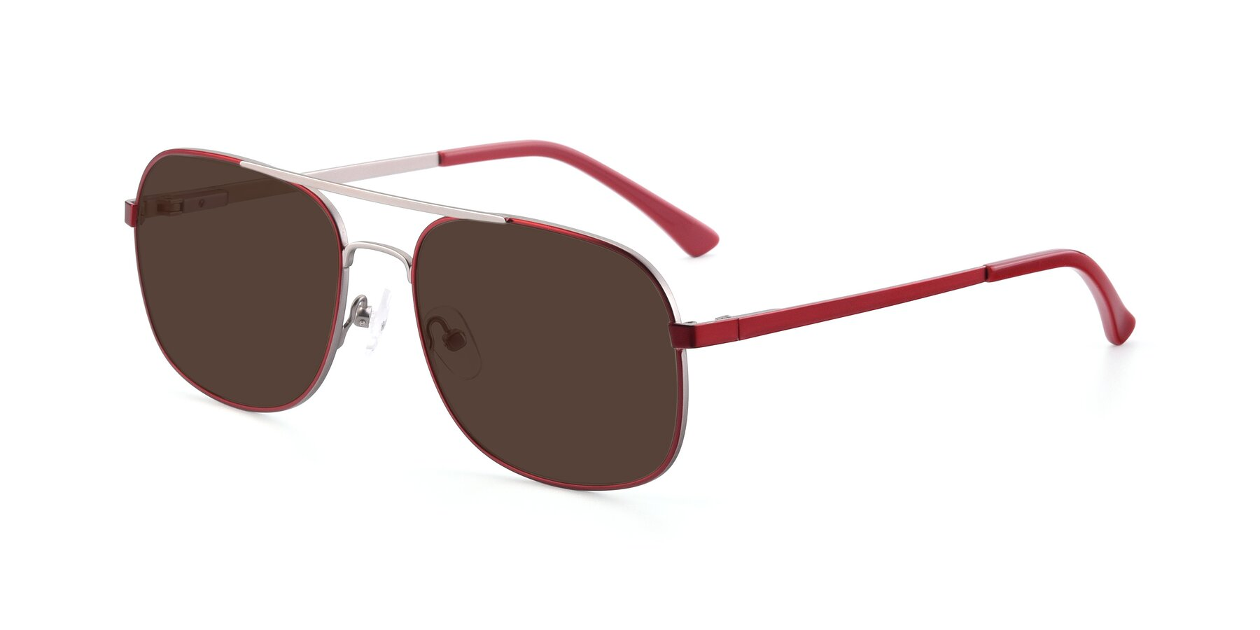 Angle of 9487 in Wine-Silver with Brown Tinted Lenses