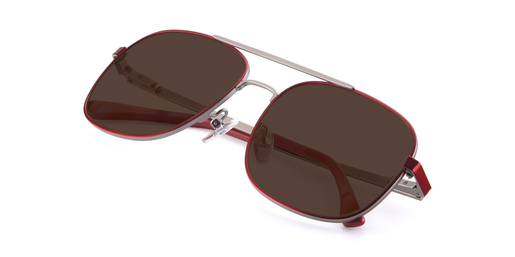 View of 9487 in Wine-Silver with Brown Tinted Lenses