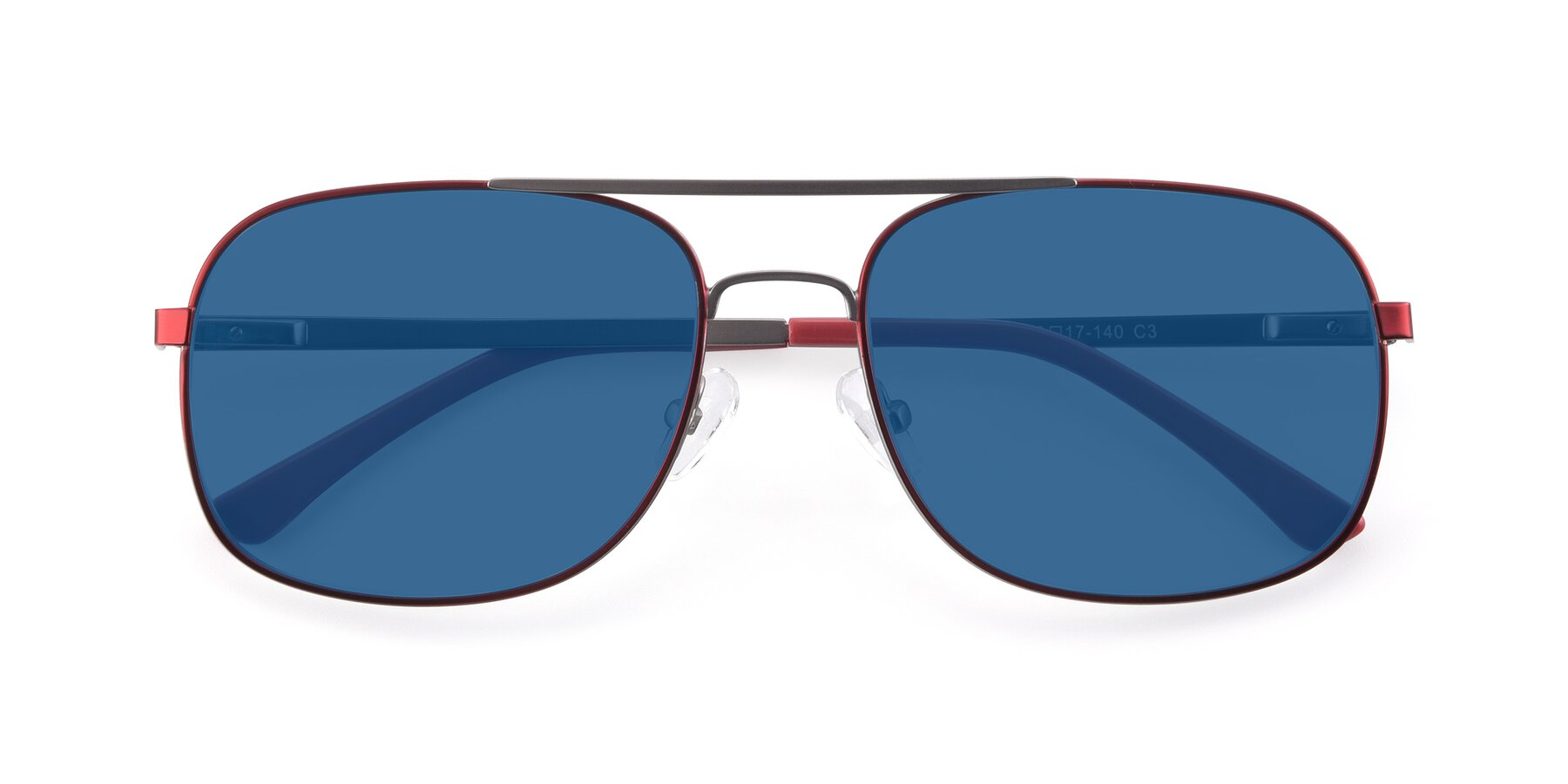 Folded Front of 9487 in Wine-Silver with Blue Tinted Lenses