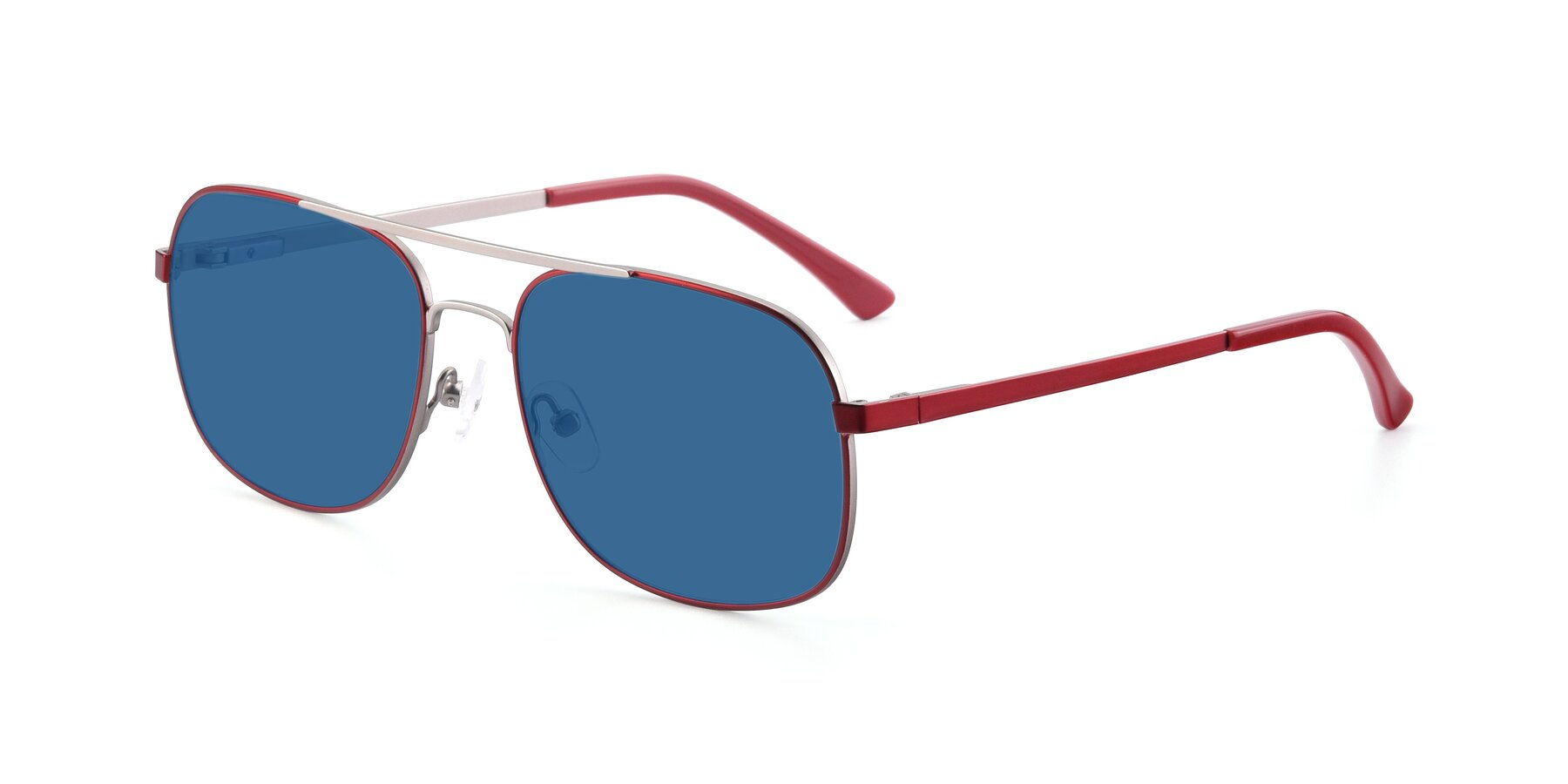 Angle of 9487 in Wine-Silver with Blue Tinted Lenses