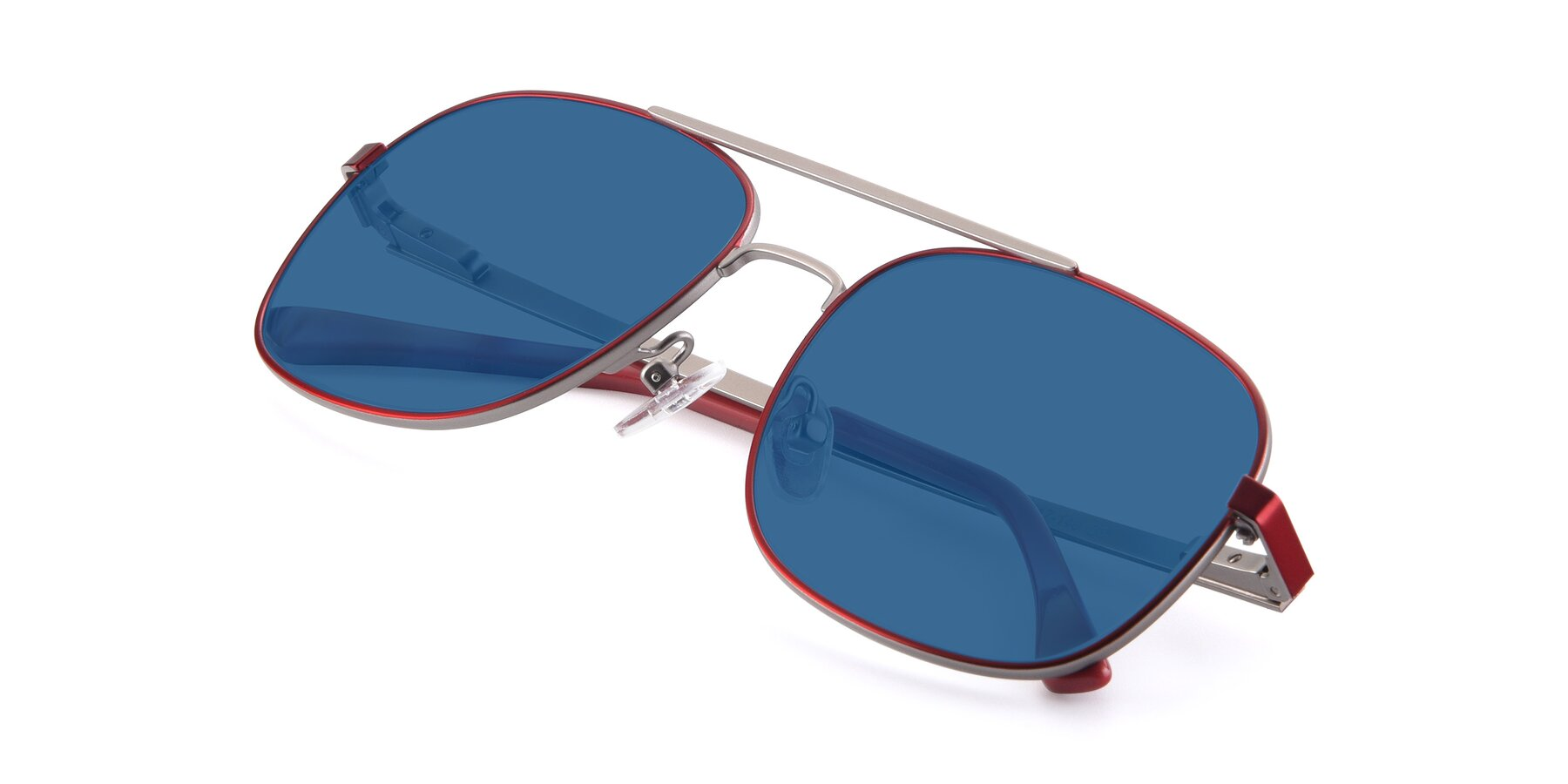 View of 9487 in Wine-Silver with Blue Tinted Lenses