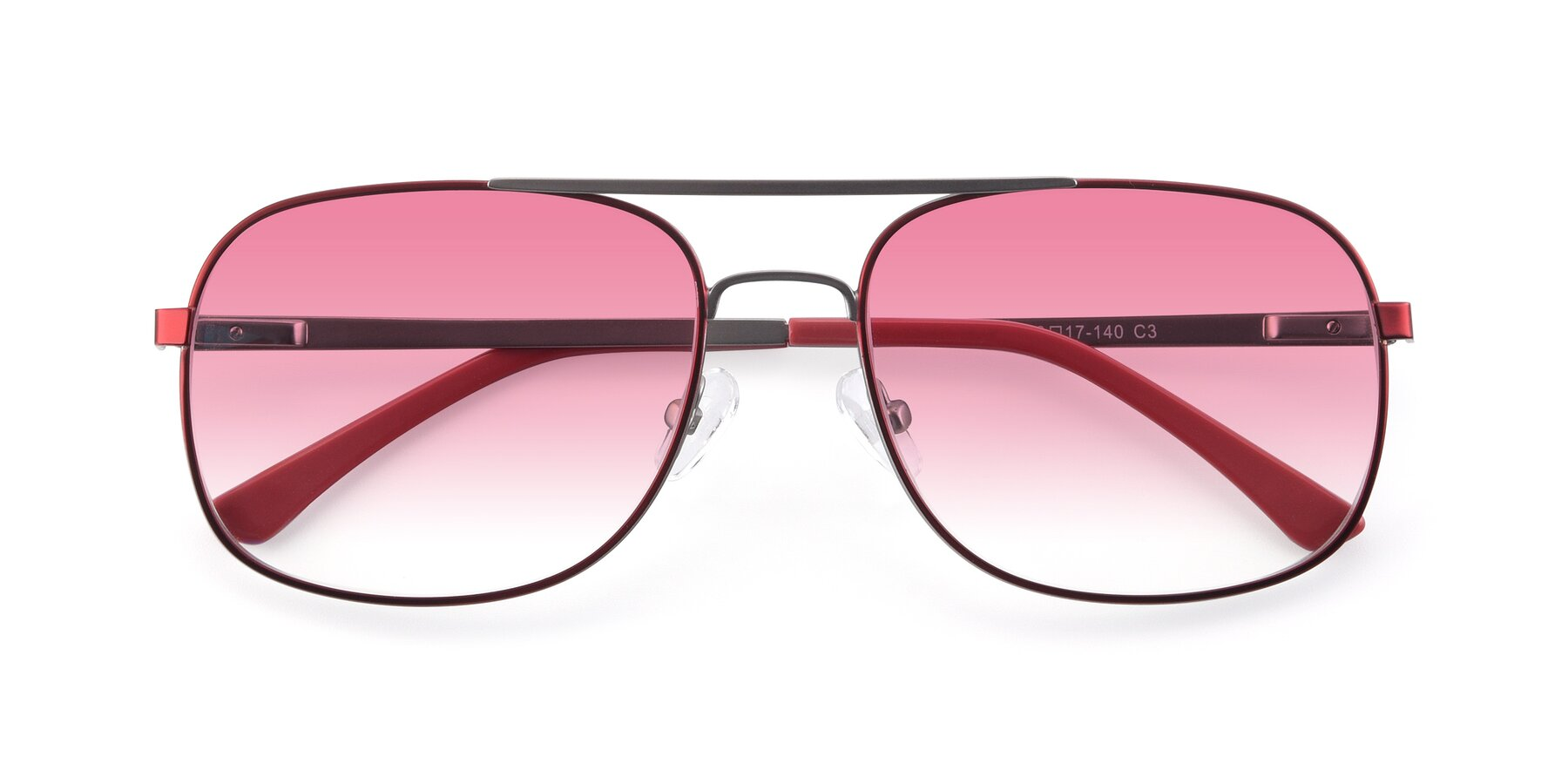 Folded Front of 9487 in Wine-Silver with Pink Gradient Lenses