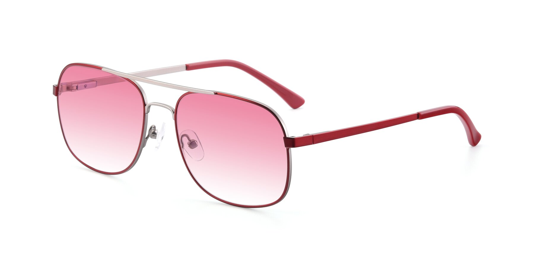 Angle of 9487 in Wine-Silver with Pink Gradient Lenses