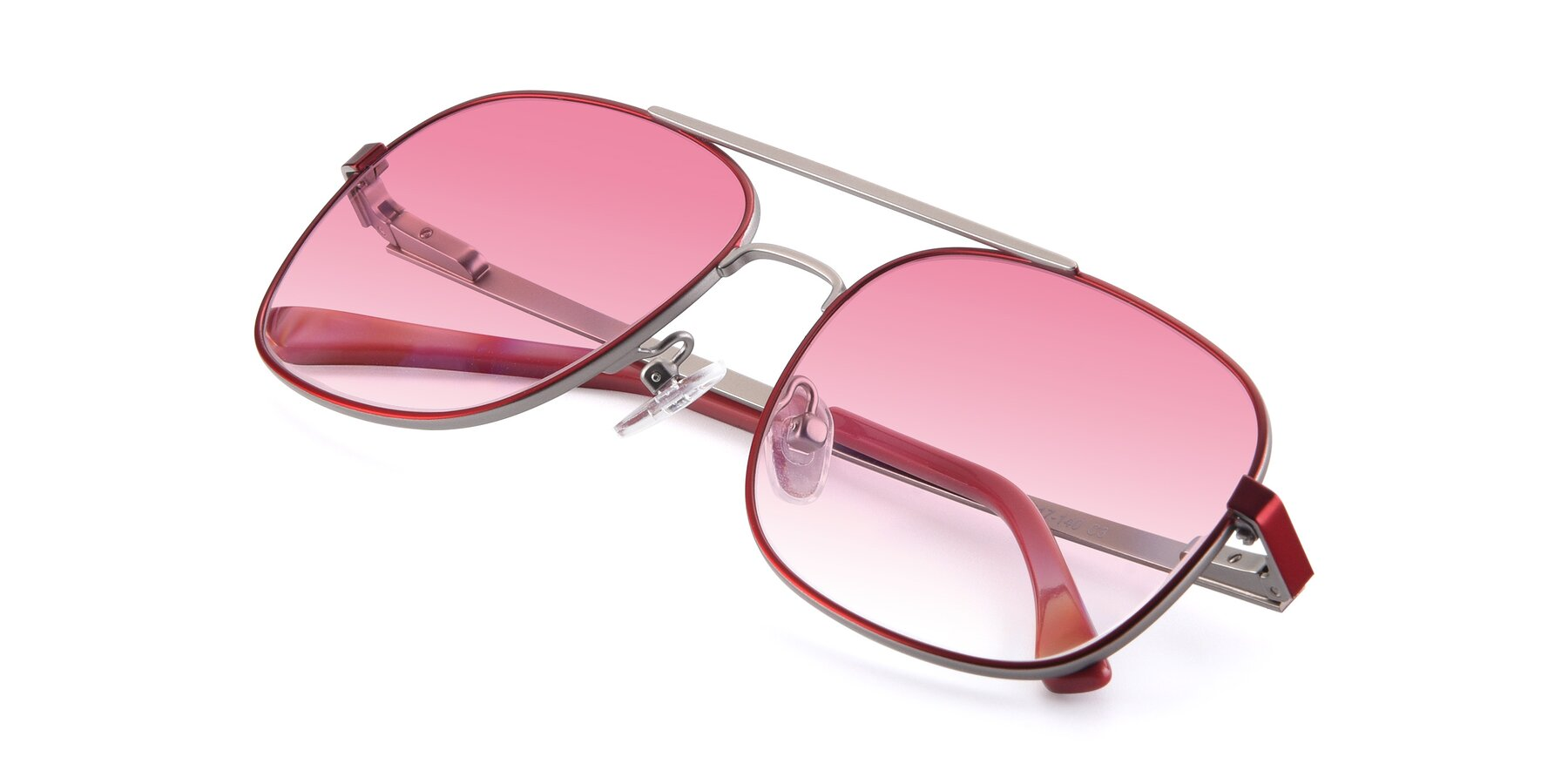 View of 9487 in Wine-Silver with Pink Gradient Lenses