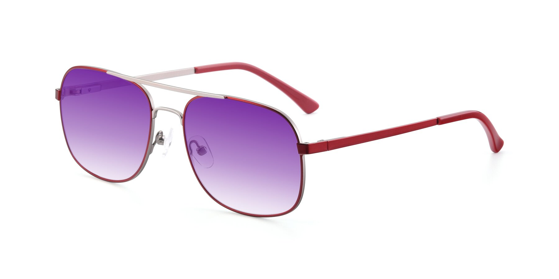 Angle of 9487 in Wine-Silver with Purple Gradient Lenses