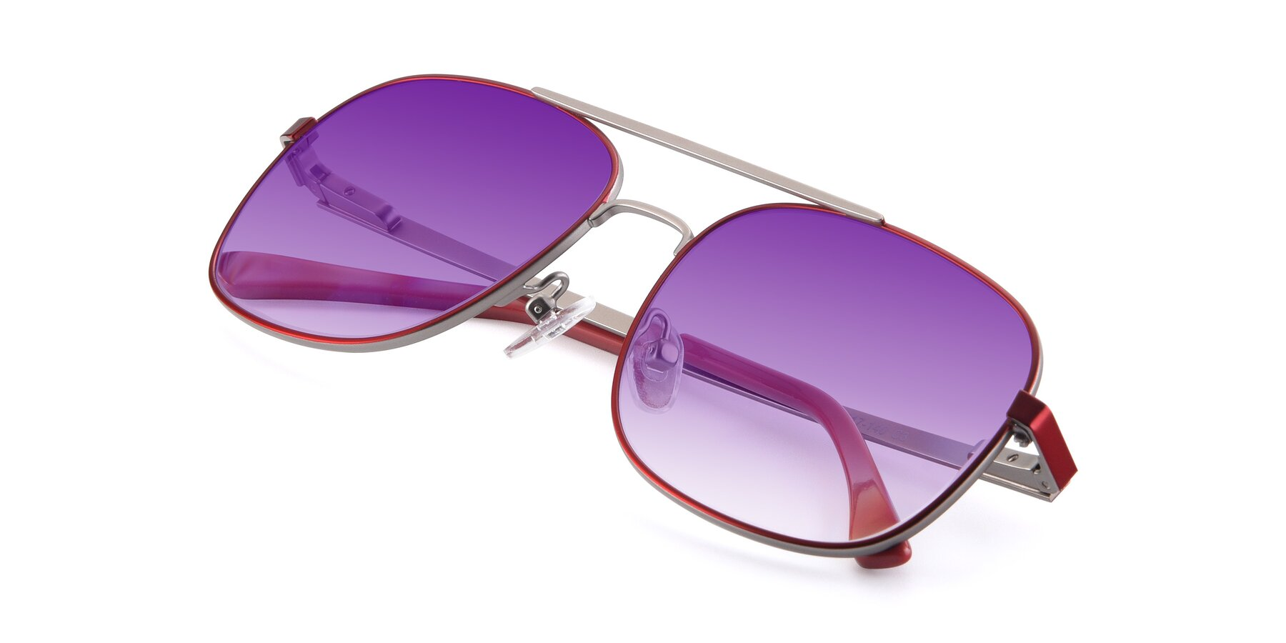 View of 9487 in Wine-Silver with Purple Gradient Lenses