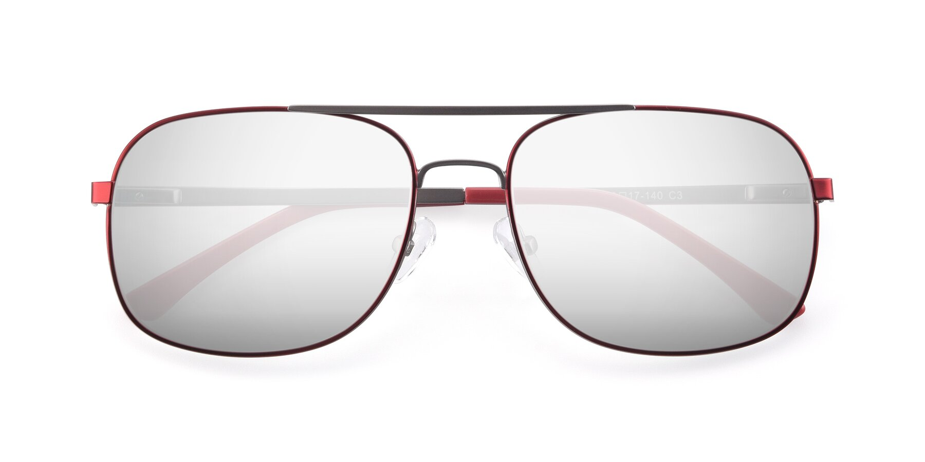 Folded Front of 9487 in Wine-Silver with Silver Mirrored Lenses