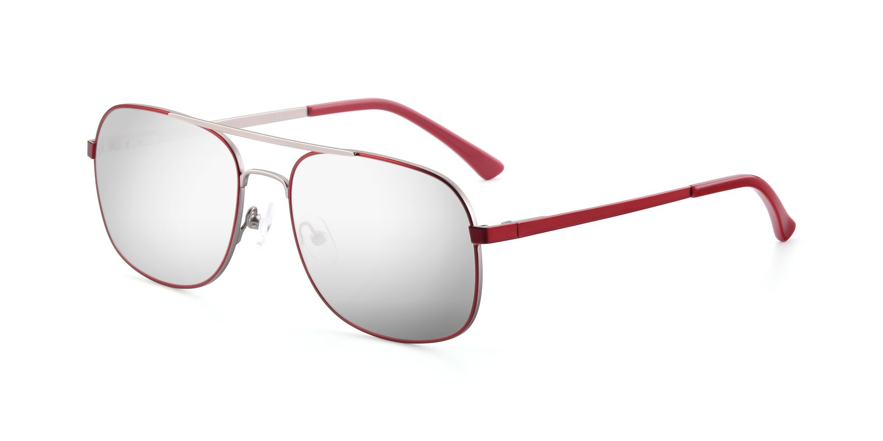 Angle of 9487 in Wine-Silver with Silver Mirrored Lenses