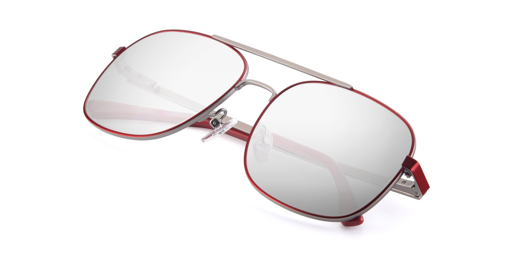 View of 9487 in Wine-Silver with Silver Mirrored Lenses