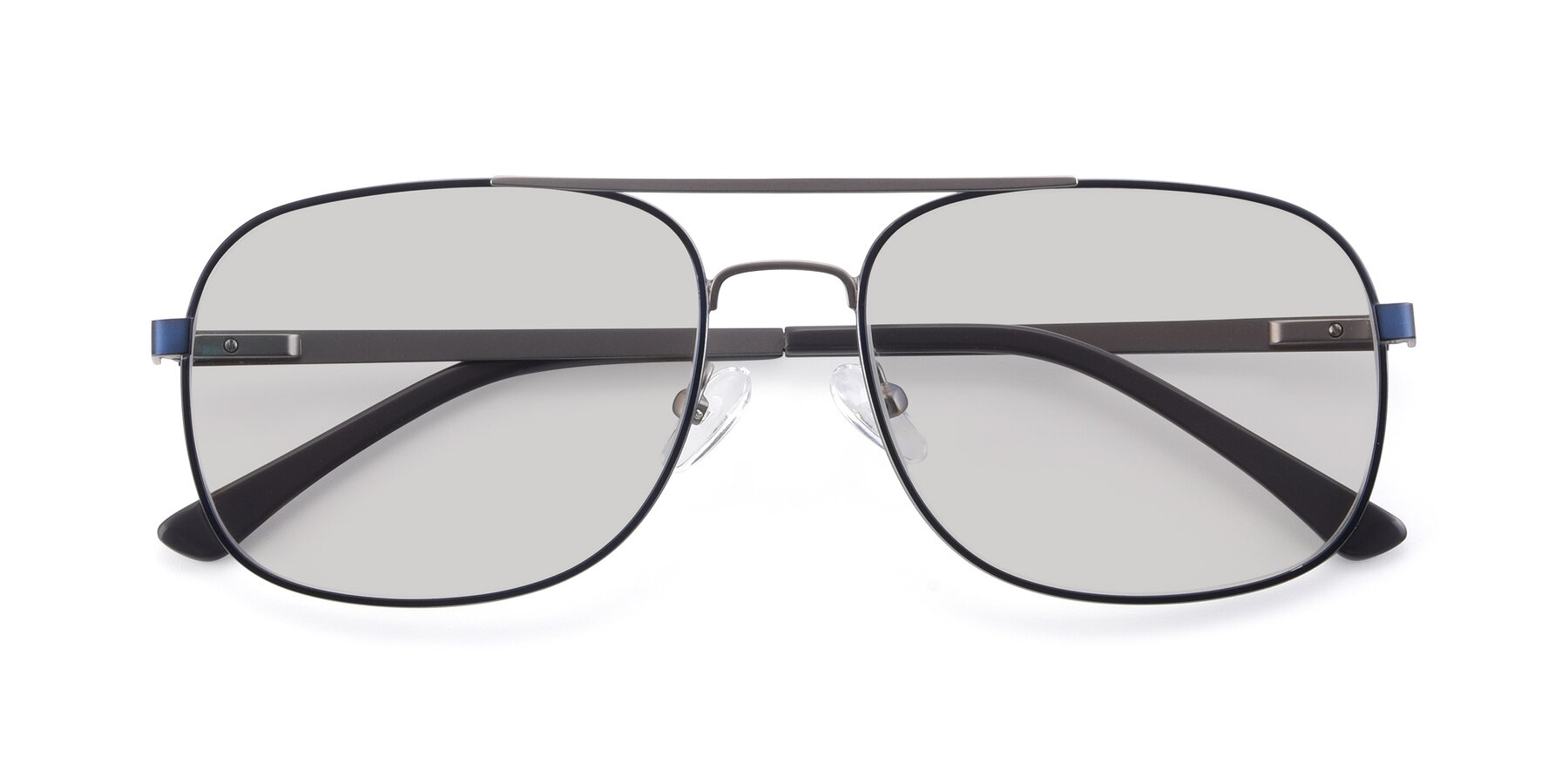 Folded Front of 9487 in Blue-Silver with Light Gray Tinted Lenses